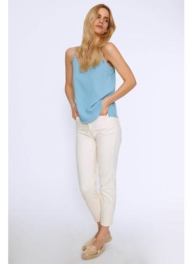 Quzu Askılı V Yaka Bluz Mint Yeşil
